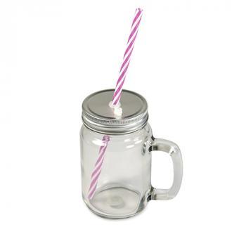 Mason Jar Henkelglas mit Deckel und Trinkhalm